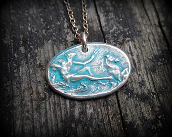 Bronze Poseidon pendant - God of the sea - Tamer of horses - Reversible pendant by RECREATE4U