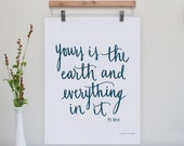 """Yours is the Earth Psalm 89:11 Original Calligraphy Print  // 8x10"""" // Color Options"""