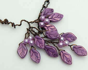 Violet Purple Glass Leaf Twig Necklace, Purple Branch Necklace, Purple Beaded Necklace, Twig Jewelry,  Gift for Her
