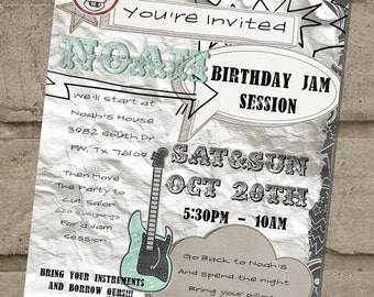 Rock and Roll Birthday Jam Session Invitation (8.5x11 Flyer-Style)