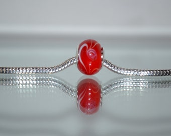 European Red Glass Bead with White Swirl Design