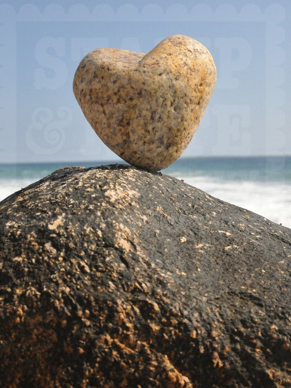 Valentine Gift Heart Shaped Rock Photo Magnet Love Rocks You are My Rock vertical Christmas Gift