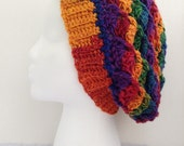 """Crochet Slouchy Hat Multicolor """"Ready to Ship"""""""
