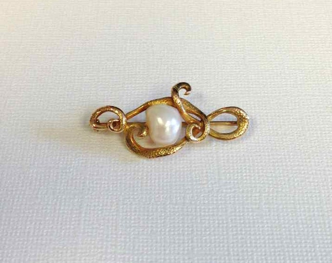 Yellow Gold Baroque Pearl Pin, Baroque Pearl Pin, Pearl Pin, Snake Like Design, Antique Pearl Pin, Vintage Pearl Pin, Antique Pin
