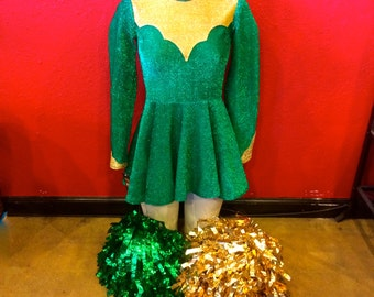 Sale,50% off 60s Cheerleading Outfit Emerald Green with Pom Poms