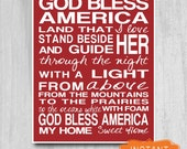 Fourth of July Printable God Bless America SALE Print Instant Download Lyrics Red White 4th of July Decor Patriotic typography art diy