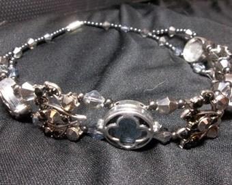 Black Beaded Choker - Double Beaded Formal Choker - Black Pendant Necklace OOAK