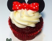 Minnie Mouse Fondant Cupcake Decorations. Set for 1 dozen cupcakes. Red or Pink.