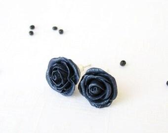 Stud Earrings, Rose, Navy Blue Hand sculpted Roses Studs, Rose earrings, Hypoallergenic post, Minimalist earrings