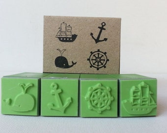 Rubber Stamp Marine Set Scrapbook supply Sea Ocean stamper,Whale, sea wheel, Ship, anchor, high quality stamper ,4 stamps
