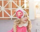Baby Girl Headband- Headbands- Flower Girl Headband- Coral Baby headband- Girls Headband-Newborn Headband- Baby Girl Headband