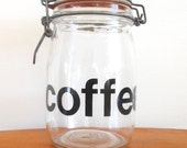 RESERVED for Kim typography coffee canister / retro Helvetica font coffee jar
