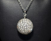 HUGE 22mm (1 inch) Pave Crystal Disco Ball Bead Necklace Pendant on a Sterling Silver Chain Necklace - White, Gray, Black, Pink, and MORE