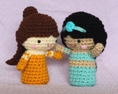 PICK ANY TWO Kokeshi-Style Princess Crochet Dolls: Set of 2