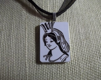 Glinda the Good Witch- Vintage Wizard of Oz image handcrafted game piece pendant Necklace - Domino jewelry