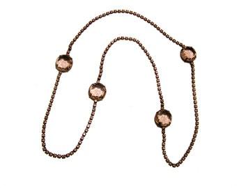 Vintage Alexis Kirk Purple Pink Bezel Rhinestones Necklace