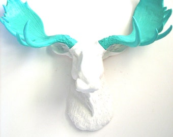 WHITE with AQUA Faux Taxidermy Large Moose Head Wall Hanging Mount Home Decor faux animal head  moose head faux taxidermie moose wall art