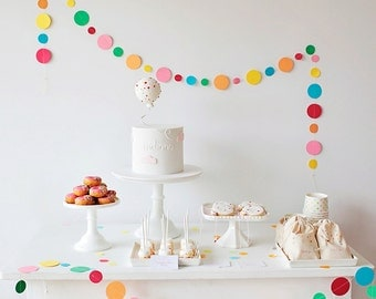 Sprinkle & Confetti Garland - Spotty Circle Garland in Rainbow of Colours