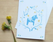 Traditional Swedish Dala Horse Card in Blue and Yellow (Blank)