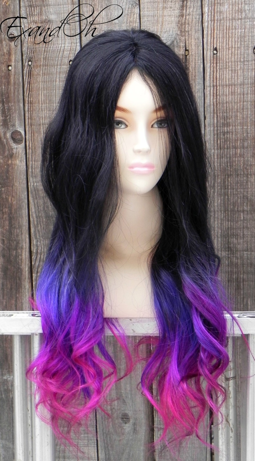 Black Purple Pink Ombre / Remy Human Hair 250 300g / by ...