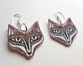Fox Face Earrings - red fox jewelry, a pair of foxy earrings