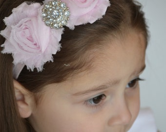 Two Shabby Rose Headband- YOUR CHOICE of two of the SAME roses with Rhinestone Center