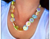 Pastel, knotted, button necklace - no metal necklace