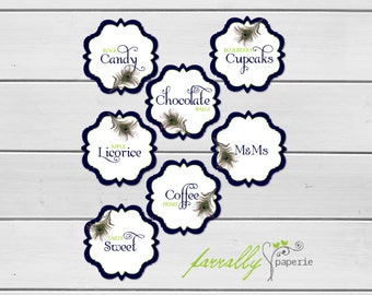 Candy Buffet Labels - Peacock Collection - Instant Download