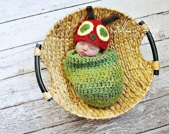 Baby Boy Hat NEWBORN Baby Boy Crochet Knit Caterpillar Hat and Cocoon Photo Prop