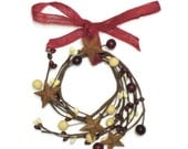 Primitive Cream Burgundy Rusty Star Pip Berry Wreath Home Decor