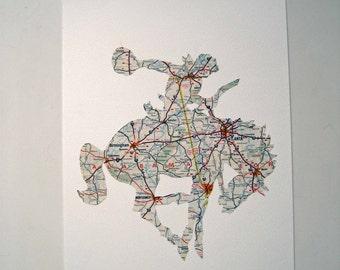 RIDE 'em COWBOY - Handmade from a vintage 1960s USA map- Alabama / Georgia