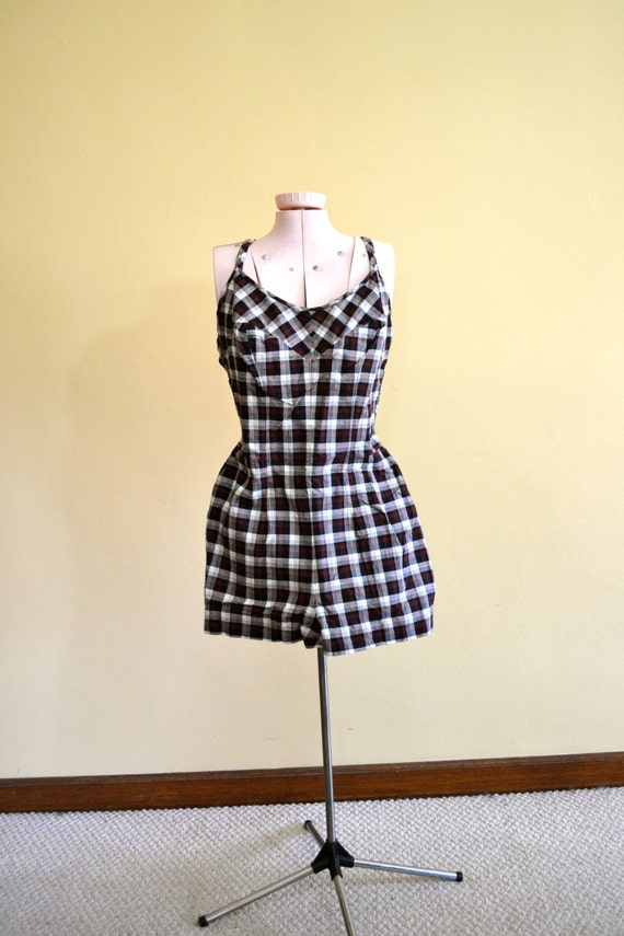 1950s Vintage Jantzen Plaid Swimsuit size 14 (XS) bust 28-32
