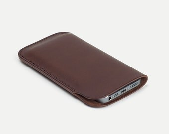 iPhone sleeve - Brown Italian vegetable tanned leather - DHK GOODS