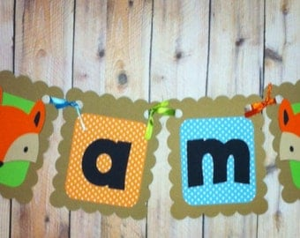 I am 1 Fox Theme high chair banner, fox party decorations, first birthday, photo prop, what does the fox say, woodland theme, party supplies