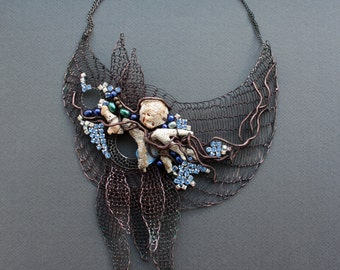 OCEANO Giant Statement Dramatic Copper Crocheted Bib Necklace/Natural Coral Crystals&Pearls Necklace /Unique Art Extravagant.Made to order