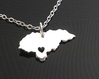 Honduras Necklace - Sterling Silver Necklace - Honduras Charm - Map Necklace - I heart Honduras - I love Honduras