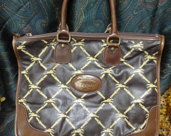 80's Vintage Longchamp leather monogram tote. Classic purse for unisex and daily use