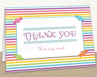 Sweet Shop Candy Land Printable Thank You Note Card, Instant Download
