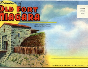 Old Fort Niagara 1770s Canada Border Canadian/American/French/British History 1937 Souvenir View Folder/ Great Condition