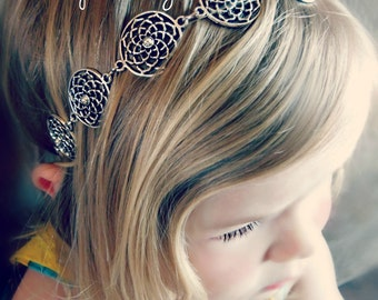 Antique Silver Lotus Flower Headband - Fits Infants, Toddlers, Girls, Tweens, Teens, and Adults