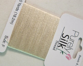 Purely Silk, Size F, Ecru, Silk Beading / Stringing Thread - Available on 20 yard Cards (and on 140 yard Spools, see Description)