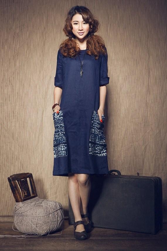 Blue Linen Dress with Floral Pockets in navy blue / Sundress Gown / Loose Kaftan Dress, Casual Shift Dress, XL,XXL plus size - A8006