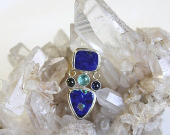Dazzling Lapis and Azurite Silver and 14K Gold Brooch and Pendant
