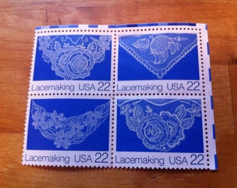 Lacemaking 1987 Folk Art Series 22 Cent// Full Set of All 4 Designs// MNH Mint Vintage US Postage Stamps