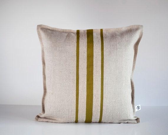 Classic green stripes decorative pillow cover - linen  throw pillows - cushion case - throws - 16x16