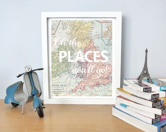 Printable - Oh, the places you'll go Dr. Seuss vintage map print for nursery or kid's room baby shower new mom gift graduation