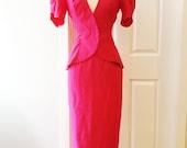 Vintage 80s fuchsia suit dress set/ raspberry skirt coat set/ pink maxi fitted skirt/ fishtail jacket
