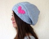 Slouch hat for women,pink heart,Grey slouchy hat..Knit hat for women..Valentine's Day Gifts..