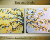 """Handpainted Acrylic Painting abstract flowers Titled Day And Night gray yellow theme Size 12""""x32"""" on TWO 12x16 canvases"""