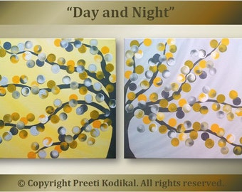 Handpainted Acrylic Painting abstract flowers Titled Day And Night gray yellow theme